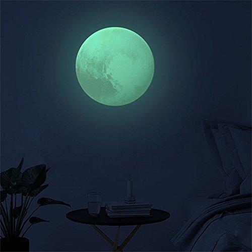 Moent 30Cm 3D Planet Fluorescent Wall Sticker Removable Glow In The Dark Sticker, 30Cm Luminous Wall Sticker Pluto