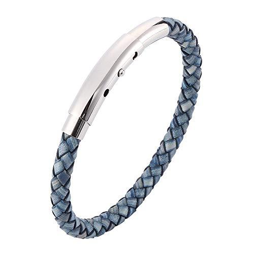 Bracelet Cuir Femme Manchette,Bracelet De Corde en Cuir De Mode Classique Bleu Bracelet De Manchette Tressé À La Main en Argent Fermoir Poli Bijoux Réglables pour Femmes Hommes Couple Cadeau