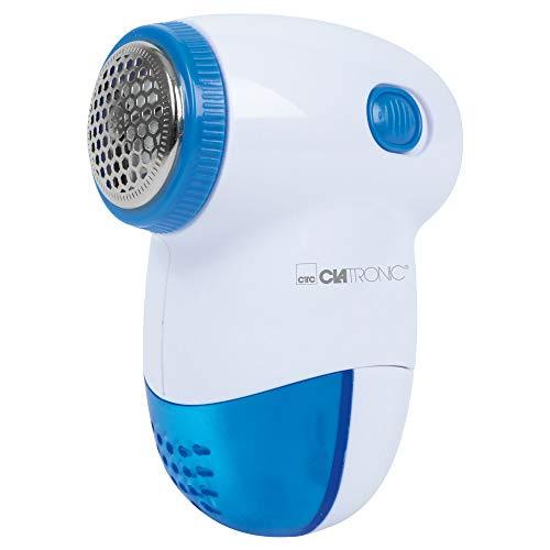 Clatronic TC 3758 Textil Mini-Cleaner, zur effektiven Entfernung von Fusseln und kleinen Knötchen, 3-Fach federnd gelagertes Edelstahlmesser, klein und handlich, weiß/blau, 52x98x74 mm