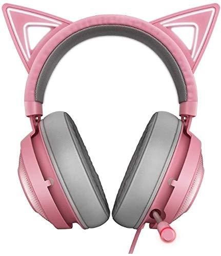 Bradoner Rosa Kopfhörer, USB-Gaming-Kopfhörer, Leichte Aluminiumrahmen-Retractable Noise-Cancelling Mikrofon, Katze-Ohr Mit Licht RGB-Headset Gaming