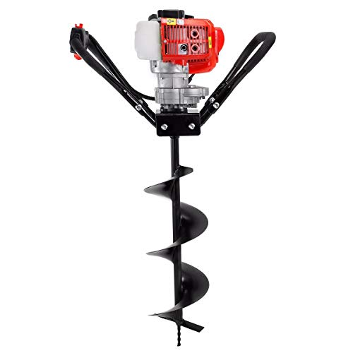 XtremepowerUS 43cc Gas Posthole Digger One Man Auger Post Hole Digging Fence Post Dirt Tree with 8