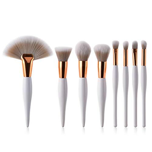 Lot de 8 pinceaux de maquillage, brun/blanc dégradé de fibres de cheveux pour les femmes enceintes et les débutants., blanc