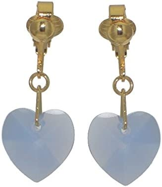 VALENTINE Gold Plated Blue Opal Crystal Heart Clip On Earrings