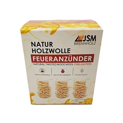 JSM-Brennholz Kaminanzünder Holzwolle Wachs 50 Rollen | Anzünder ohne Chemie | Holzwolle Anzünder für Kamin, Holzofen, Kachelofen & Grillanzünder