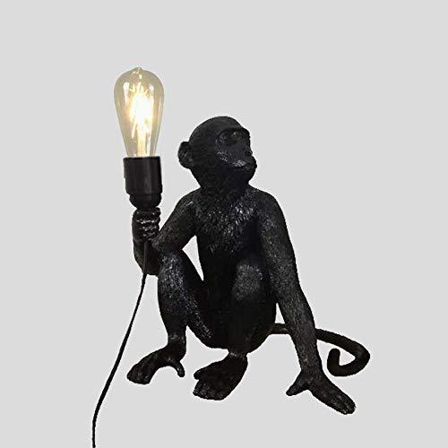 GDICONIC Lámpara de Mesa Personalidad Creativa energía eólica Restaurante de Animales terraza Cordel Estudio de Mono habitación de los ni?os lámpara de Pared lámpara de Mesa 31 * 31 cm (Color:Dorado)