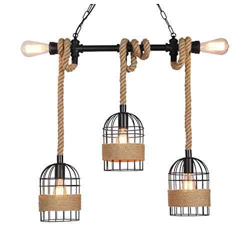 QIYUE Chandelier retro henneptouw verlichting industriële wind creatieve vogelkooi raamdecoratie lamp theesalon slaapkamer hotelkamer verlichting van de huisdecoratie restaurant verlichting LED in hoo