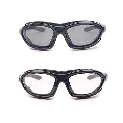 EnzoDate Motorrad - Brille polarisierte brillengläser klar Tag - Nacht - Helm Sonnenbrille auswechselbare TEM (2 Paar)
