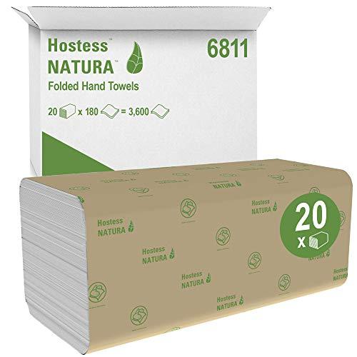 Hostess Natura, 6811, Falthandtücher, 2-lagig, weiß, 20 Packungen x 180 Tücher