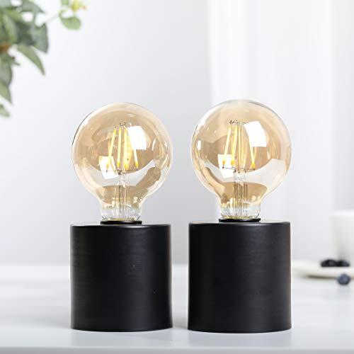 JHY DESIGN 2er Set dekorative Tischlampen batteriebetrieben 20cm hoch mit sphärischem Batterielampe Metall kabellos Licht für Hochzeiten Party außen innen wohnzimmer(Schwarze Basis)