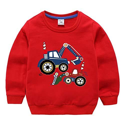 Lishui Kind Jungen Sweatshirt Mädchen Drucken Pullover Langarm Rundhalsausschnitt Rot 140 Höhengeeignet 130-140CM
