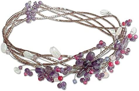 NOVICA Multi-Gem Same day shipping Amethyst Tampa Mall Stainless Collar Steel Beaded Necklace