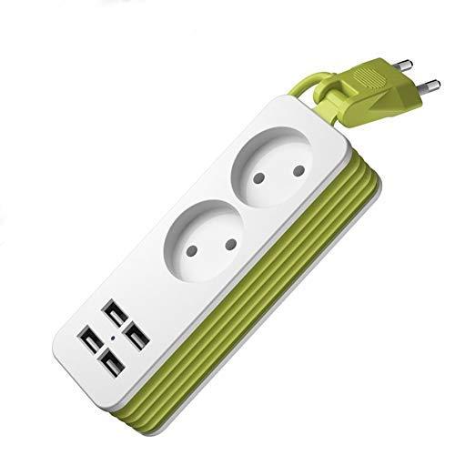 Adaptador de viaje de la tira de la línea de arrastre de la línea de arrastre 2 enchufe de CA 4 Puerto Adaptador de cargador de pared Multi USB con un cable de extensión de 1.5M para tabletas de teléf
