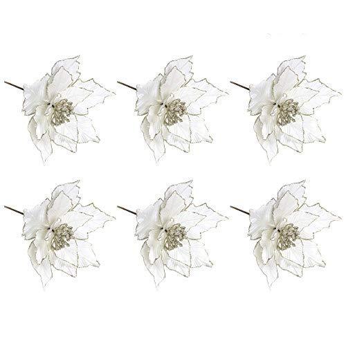 Lamf Glitzer-Weihnachtsstern, 24,1 cm, Christbaumschmuck, roter Weihnachtsstern-Busch, künstliche Weihnachtsblumen, Kränze, Hochzeits-Ornamente, 6 Stück weiß