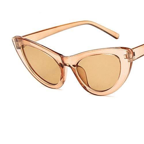 Gafas de Sol Sunglasses Moda Mujer Diseñador Gafas De Sol Vintage Lady Retro Conducción Cat Eye Gafas De Sol Uv400 C6Brown