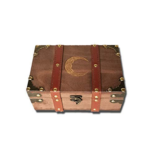 8.3' Belt Decorated Altar Box and Wicca Supplies Set, Celtic Crescent Engraved Wooden Wicca Box, Velvet Lining Vintage Tarot Box (Box Only)