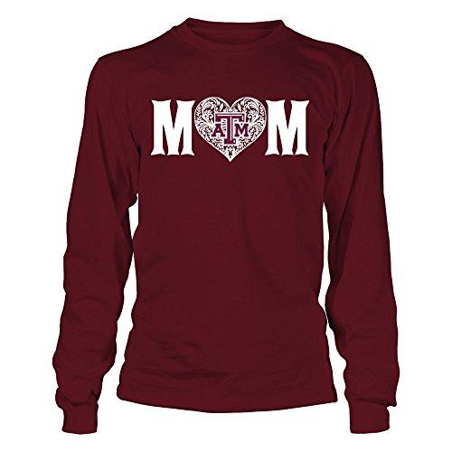 FanPrint Texas A&M Aggies T-Shirt - Mom Patterned Letter - Longsleeve Tee/Maroon/L