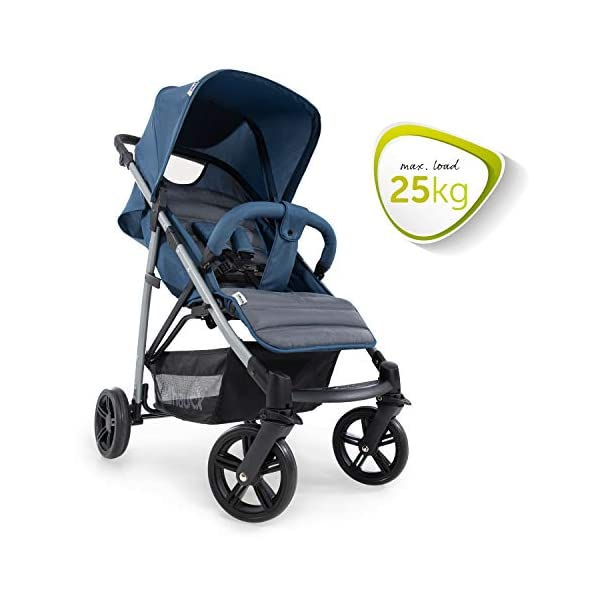 Hauck Rapid 4, 0 Months to 22 kg, Foldable, Compact, with one Hand, with Sleep Position, Height Adjustable Handle, Large Basket - denim/grey, Rapid 4, Up to 25 Kg Hauck Easy folding this pushchair is as easy to fold away as possible - the comfort stroller can be folded with one hand only within seconds, leaving one hand always free for your little ray of sunshine Long use this buggy can be used for a very long time. it is suitable from birth (also compatible with 2in1 carrycot or comfort fix infant car seat) up to a maximum of 22kg Comfortable back friendly push handle adjustable in height, the hood extendable; suspension, swivelling front wheels, soft padding, and large shopping basket 7
