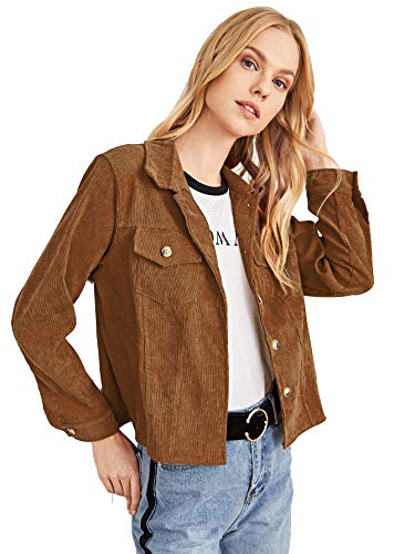 Milumia Women Crop Jacket Corduroy Pocket Decoration Long Sleeve Coat Outer Brown Small
