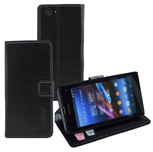Suncase Book-Style Ledertasche für / Sony Xperia Z1 Compact / *ECHT LEDER* Tasche Handytasche Hülle Etui Hülle rustic-schwarz