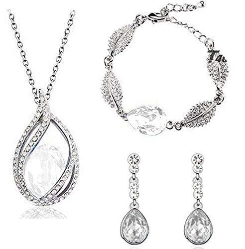 Lot parure - ketting - oorbellen - armband - elegant - avond - diamanten