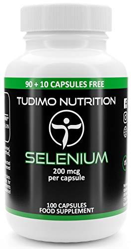 Selenio | 200 mcg | Cápsulas – 100 pzas (3+ Meses de provisión) de Cápsulas de Desintegración Rápida, cada una con 200mcg de polvo de Selenometionina