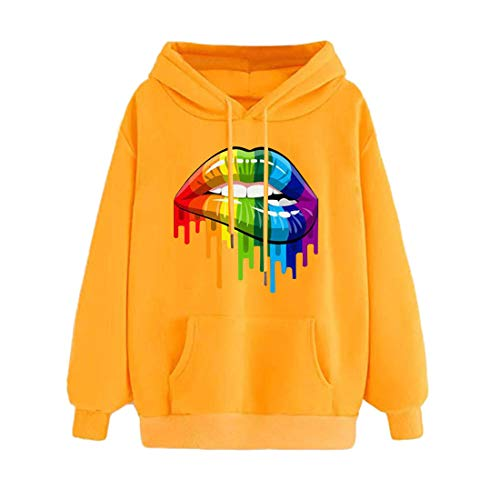 Hoodie Women Long Sleeve Pullover T Shirt Solid Color Lips Print Drawstring Pockets Loose Stretch Casual Fitness Jogging Sweatshirt Top Autumn New Christmas Transitional Coat L