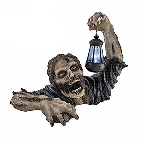Eksesor Statue da Giardino di Zombi in Resina, Nani da Giardino del Film Horror, Zombi con Lanterna A LED Solare, Statua di Nani da Giardino per Giardino All'Aperto, Patio O Giardino