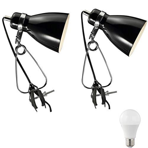 2er Set Nordlux Cyclone Klemmleuchte Retroleuchte weiß/schwarz incl. 5,5W LED Klemmspot Vintage Retro Industrieleuchte Metal (schwarz)