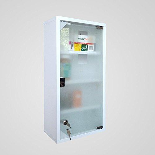 Style home Edelstahl Medizinschrank Arzneischrank Erste Hilfe Schrank Glastür mit Schloss, inkl 2 Schlüsseln Hausapotheke Größe (4 Fächer-Weiß, 60x30cm)