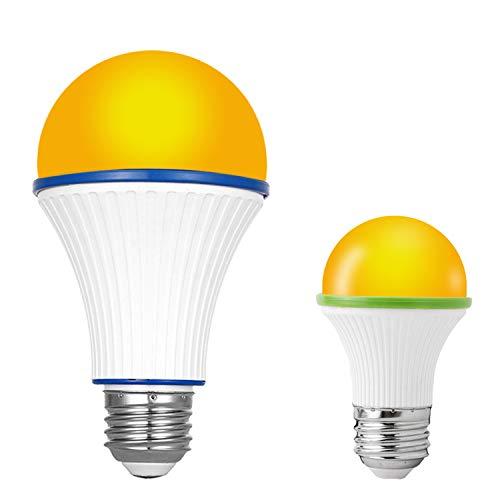 KINUR Sleep aid Light Bulb, Blue Light Blocking Amber Color A15 3 Watt-25 Watt Equivalent Low watt Light Bulbs for Healthy Sleep and Baby Nursery Light 2 Pack
