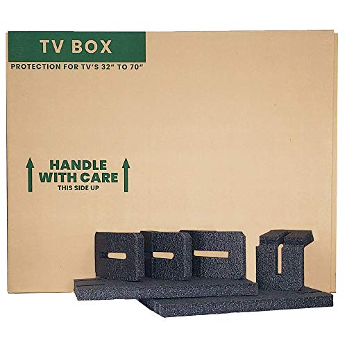 """TV Moving Box with Foam – Fits 32""""-70"""" Flat Screen TV"""
