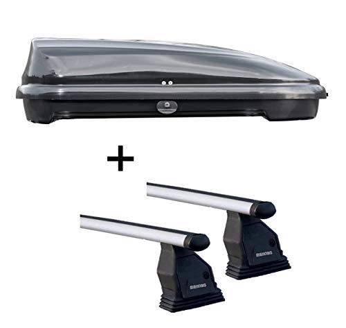 Coffre de toit VDPFL320 noir brillant 320 l + barres de toit Menabo Tema compatibles avec Mercedes Classe C W205 (hayon 4 portes) à partir de 2014 - Aluminium