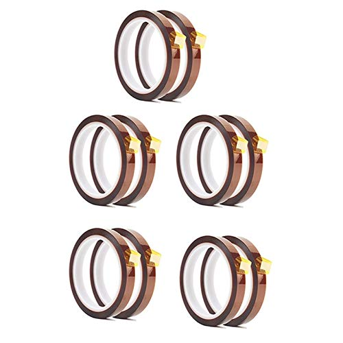 Apricot blossom 10 Rolls 10mm X 33M 108Ft Heat Press Tape- Heat Resistant Sublimation Tape Fit For Heat Transfer,3D Printers High Temperature Tape A (Color : Brown)