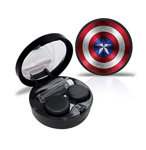 Captain America Contact Lens Case Cute Contact Lens Travel Case Contact Lens Case Container Holder Storage Box Portable Contact Lens Travel Kits