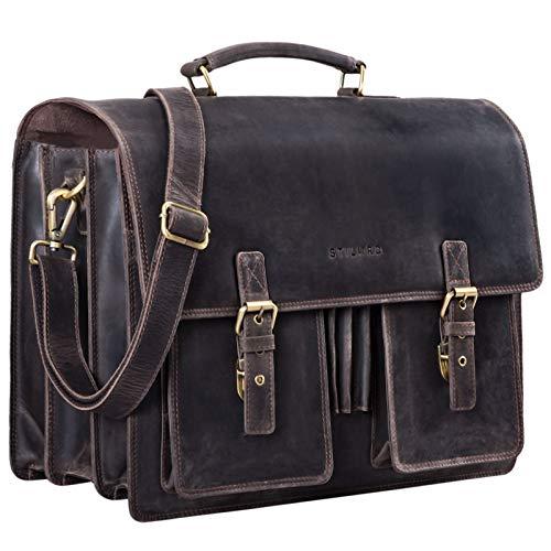 STILORD 'Anton' Aktentasche Leder XL Vintage Lehrertasche mit Laptopfach 15,6 Zoll große Ledertasche zum Umhängen Trolley aufsteckbar, Farbe:dunkel - braun