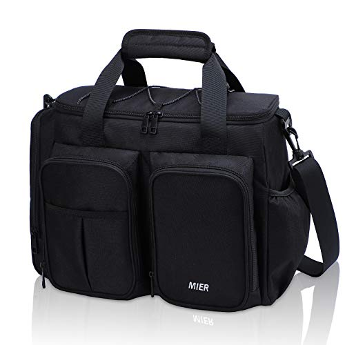 MIER Large Insulated Lunch Bag for Men Women Leakproof Soft Cooler Bag with Multiple Pockets 20 Can Rectangle Black