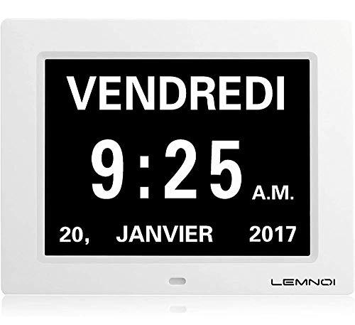 Christmas Lemnoi 8 'Inch LCD Digital Clock Calendar com data, dia e hora relógio não abreviado Auto escurecimento 8 idiomas lembrete de exibição HD para Alzheimer ...
