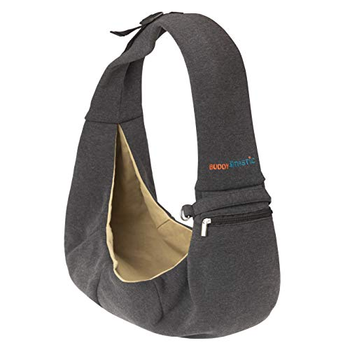BUDDY TASTIC Pet Sling Carrier - Reversible and Hands-Free Dog Bag with Adjustable Strap and Pocket...