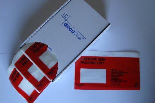 """250 Dokumententaschen dokuFIX® DIN lang\""""Lieferschein\"""" 13-sprachig Gr. 240x115+15mm in der Spendebox(335302)"""