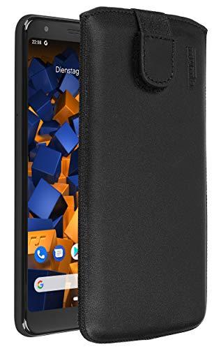 mumbi Echt Ledertasche kompatibel mit Google Pixel 3a Hülle Leder Tasche Hülle Wallet, schwarz