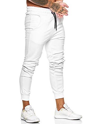 OneRedox Herren Jogging Hose Jogger Streetwear Sporthose Modell 1268-JG Weiss XS