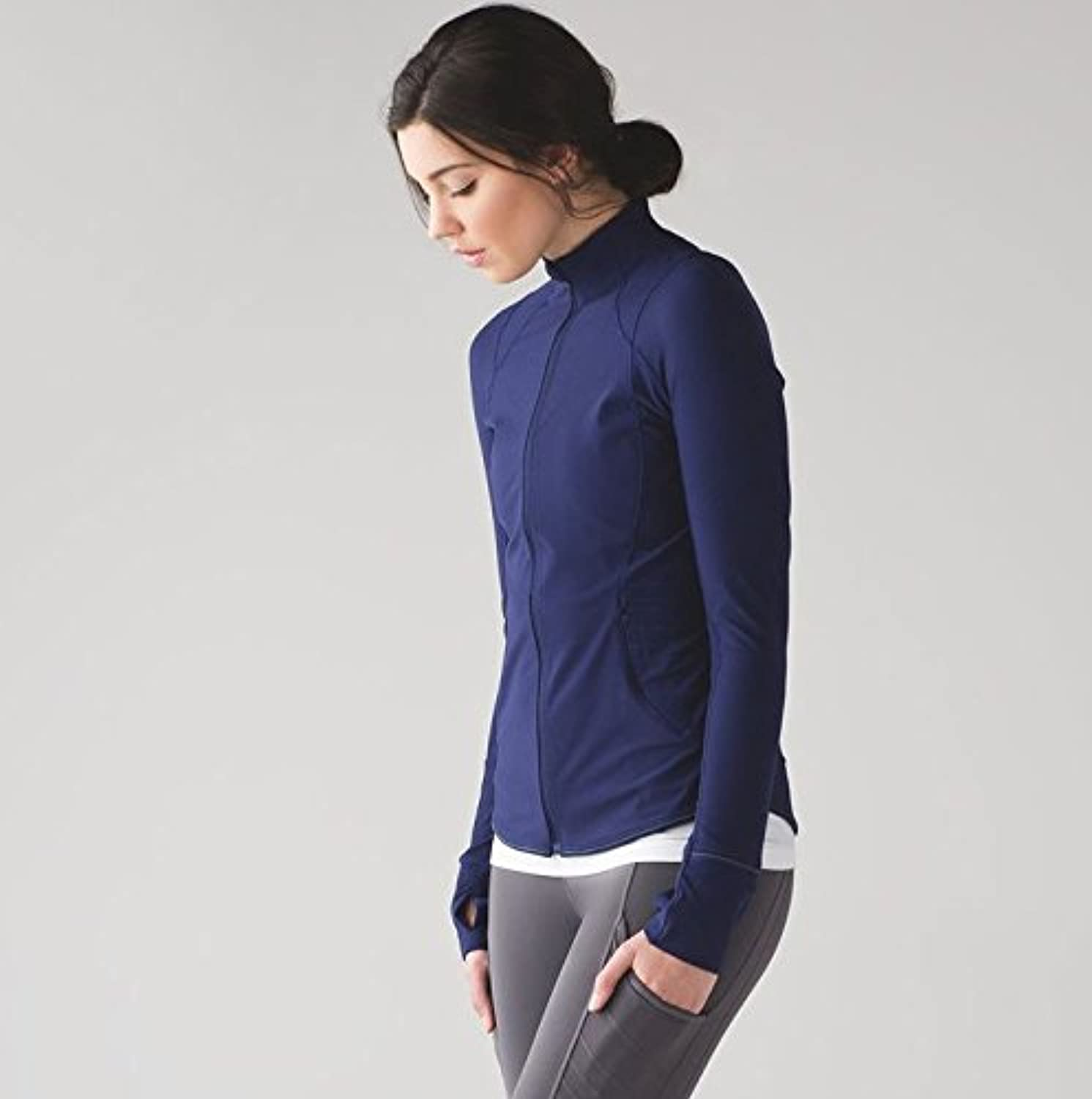 Yoga suit, dress, body, exercise, exercise, yoga, exercise, autumn and winter coat,S,705 midnight bluee