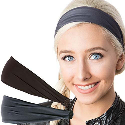 Hipsy Adjustable & Stretchy Basic Xflex Wide Headbands for Women Girls & Teens (Black & D Grey Basic 2pk)