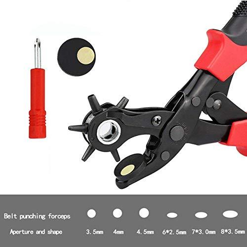 WEIYYY Alicates perforadores de cinturón multifunción con 6 Agujeros Tejido perforador de Cuero Giratorio para Cinturones Bandas de Reloj Correas Tarjetas Papel, Tipo I, China