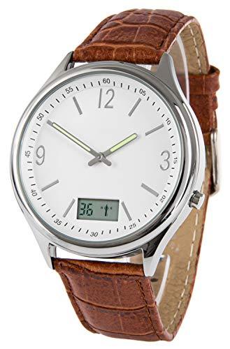 Funk-Armbanduhr, mit Datum + Sekundenanzeige