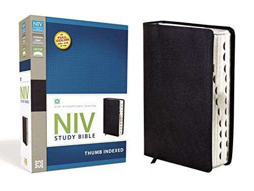 NIV Study Bible, Top-Grain Leather, Black, Red Letter Edition, Thumb Indexed