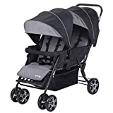 Safety 1St Teamy Passeggino Fratellare Gemellare Lineare, Reclinabile, con Parapioggia e Coprigambe, 6 mesi+, Black Chic (Nero)
