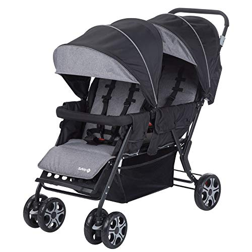Safety 1St Teamy Passeggino Fratellare Gemellare Lineare, Reclinabile, con Parapioggia e Coprigambe, 6 mesi+, Black Chic (Nero)