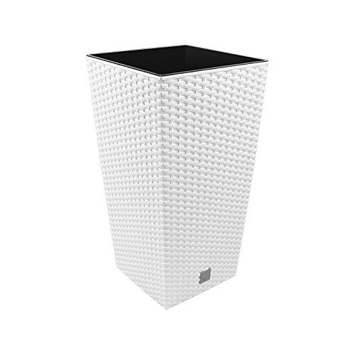 Prosperplast Maceta Rato de 26.6 litros con inserto 26.5 x 26.5 x 50 cm en color blanco, 26.5 x 26.5 x 50 cm