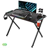 EUREKA ERGONOMIC X1-S Gaming Computer Desk 44.5' Gamer Desk PC Table Gaming Desks with LED Lights Large Carbon Fiber Surface Cup Holder Headphone Hook for Men Boyfriend Female Gift